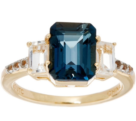 Emerald Cut London Blue Topaz & White Topaz Sterling Ring, 2.90 cttw