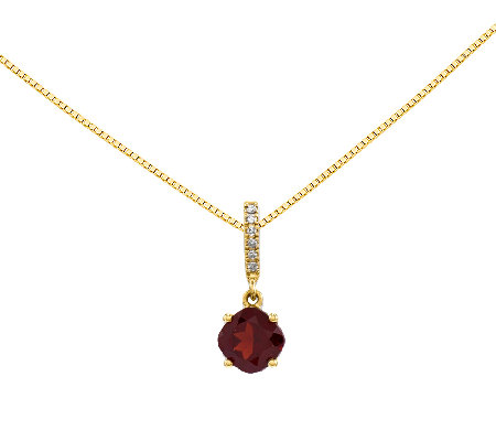 "Choice of Cushion-Cut Gemstone Pendant w/ 18"" Chain, 14K Gold"