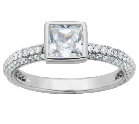 Diamonique Sterling Bezel-Set Cushion Solitaire Stack Ring