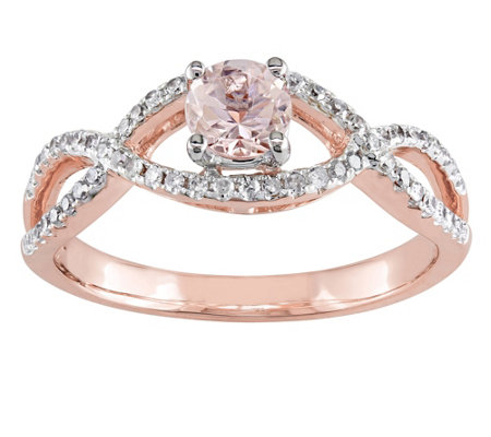 0.45 ct Morganite & 1/5 cttw Diamond Ring, 14 KRose Gold