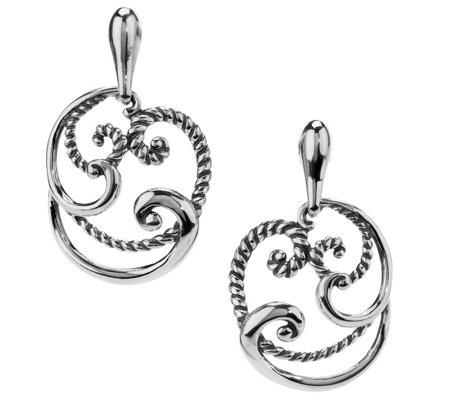 Carolyn Pollack Signature Sterling Round Swir lDrop Earrings