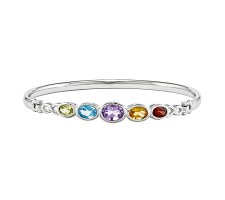 Sterling Multi-Gemstone Hinged Bangle