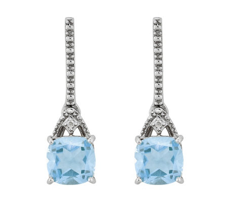 Sterling 1.45 cttw Aquamarine & Diamond AccentEarrings