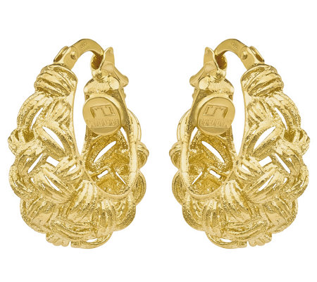 14K Gold Basketweave Textured Hoop Earrings