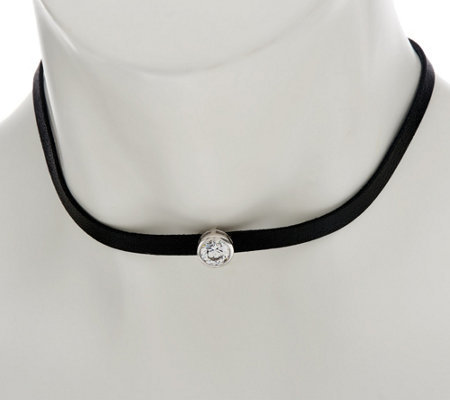 """As Is"" Diamonique Motif Choker Necklace, Sterling"