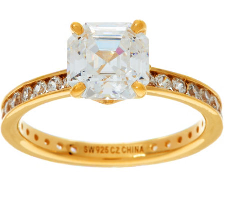 """As Is"" Diamonique Solitaire Eternity Ring, 14K Yellow Clad"
