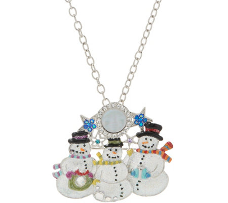 Kirks Folly Snowmen Seaview Moon Pin Enhancer W Chain