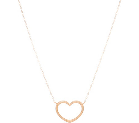 "Polished 18"" Heart Station Necklace with Gift Box 14K Gold"