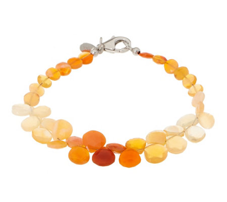 Colors Of Fire Opal Bead Bracelet Sterling
