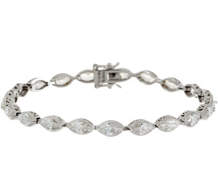Diamonique Marquise Tennis Bracelet, Sterling Silver