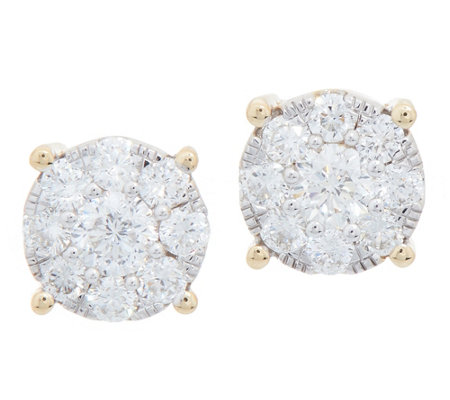 """As Is"" 98 Facet Diamond Cluster Studs, 1.00 cttw, 14K, by Affinity"