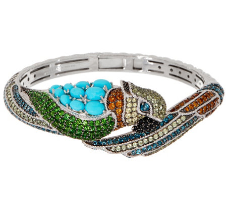 Judith Ripka Peggy Parrot Sterling Silver Multi-Gemstone Cuff