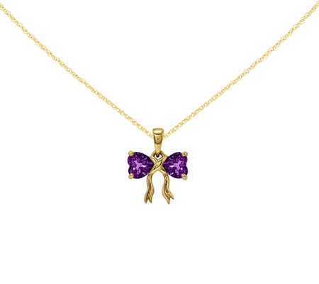 "14K Yellow Gold Gemstone Bow Pendant with 18"" Chain"