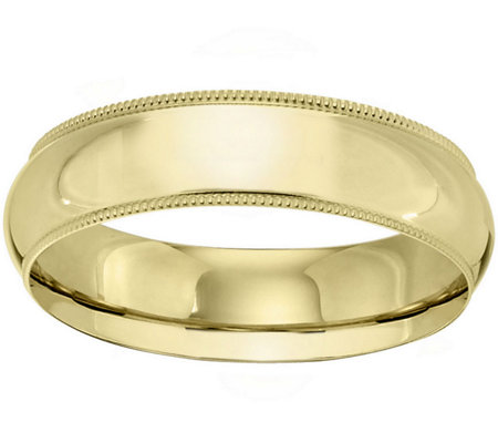 Men's 14K Yellow Gold 6mm Milgrain Wedding Band