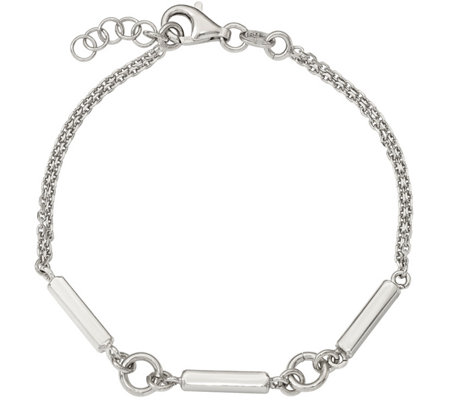 "Sterling Bar Link 7"" Bracelet, 4.3g By Sil verStyle"