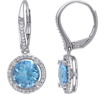 4.46 cttw Blue Topaz & 3/10 cttw Diamond Earrings, 14K
