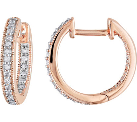 Diamond Hoop Earrings, 14K Rose Gold, 1/5 cttw,by Affinity