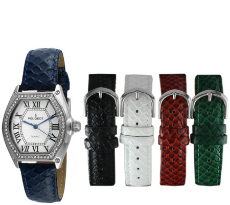 Peugeot Women's Stainless Barrel Crystal 5 BandWatch Set