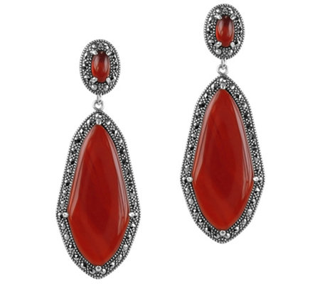 Suspicion Sterling Red Agate & Marcasite Halo Earrings