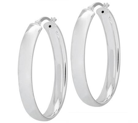 Sterling 1 1 2 Flat Oval Hoop Earrings