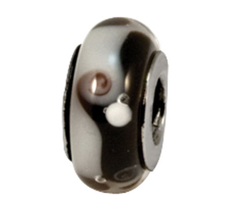 Prerogatives Sterling Black and Gray Glass Bead