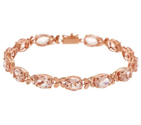 Premier Oval Morganite Fl Design 6 3 4 Tennis Bracelet