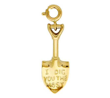 14K Yellow Gold Garden Shovel Charm