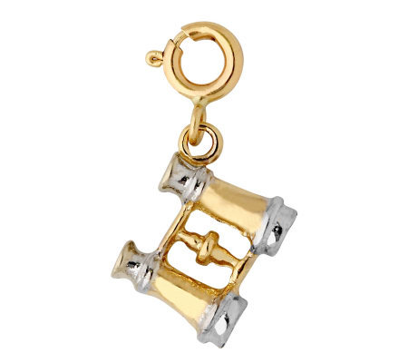 14K Yellow Gold Two-tone Binoculars Charm
