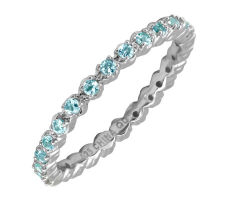 Simply Stacks Sterling Prong Set Blue Topaz Stackable Ring