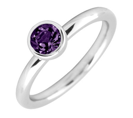 Simply Stacks Sterling 5mm Round Amethyst Solitaire Ring