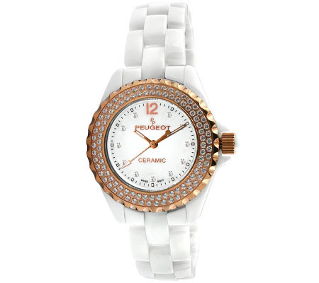 Peugeot Women S Ceramic Swarovski Crystal Whitedial Watch
