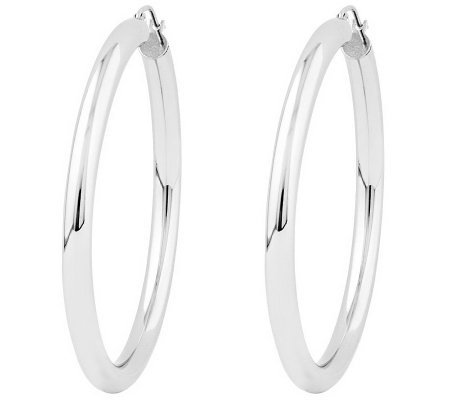Polished 2 Round Hoop Earrings 14k Gold