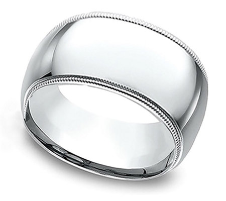 Sterling Silver 10MM Milgrain Unisex Wedding Band Ring