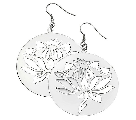 Steel by Design Floral Disc Dangle E arrings