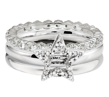 Simply Stacks Sterling Diamond Accent Star RingSet