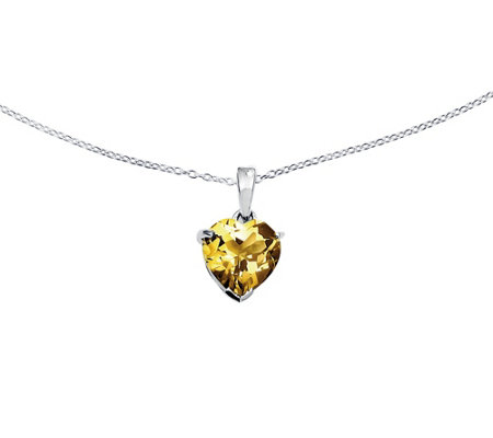 "Sterling Heart-Shaped Gemstone Pendant with 18"" Chain"