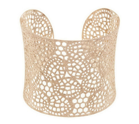 """As Is"" Sterling Avg. Openwork Lace Design Cuff, 30.0g"
