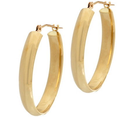 """As Is"" 18K Gold 7/8"" Polished Oval Hoop Earrings"