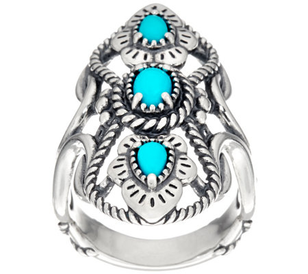 American West Sterling Silver 3 Stone Sleeping Beauty Turquoise Ring