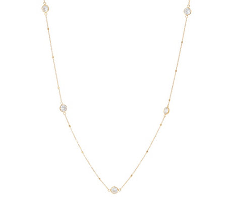 Diamonique By The Yard Necklace, 14K Gold