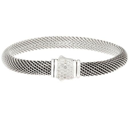 Jai Sterling Silver Mesh Bracelet W Pave Gemstone Clasp