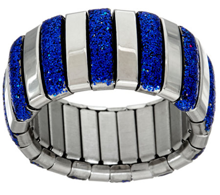 Stainless Steel Stretch Colored Glitter Ring