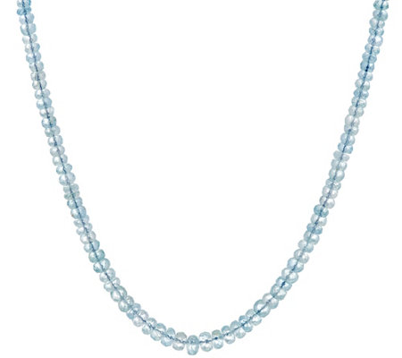 "Aquamarine or Morganite 18"" Sterling Bead Necklace, 57.00 cttw"
