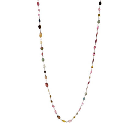 "36"" Colors of Tourmaline 44.00 cttw Necklace Sterling"