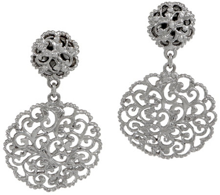 DeLatori Sterling Silver Lattice Drop Earrings