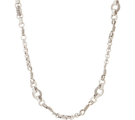 "Stephen Dweck Sterling Silver 24"" Signature Link Necklace 26.0g"