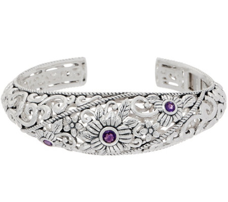 Or Paz Sterling Silver Gemstone Accent Filigree Cuff
