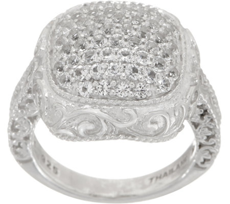 """As Is"" DeLatori Sterling Silver White Topaz Pave Ring"