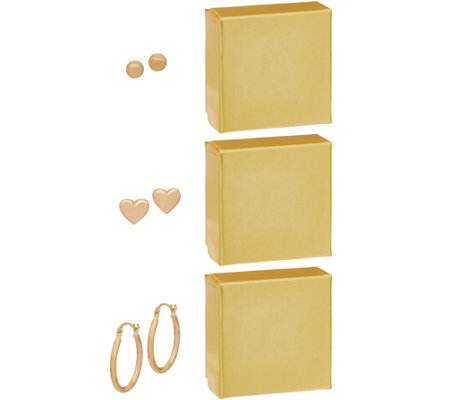 14K Gold Set of Three Earrings, Boxed