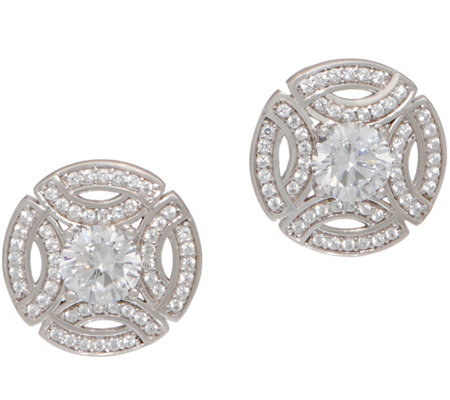 Diamonique Royal Collection Stud Earrings, Sterling Silver